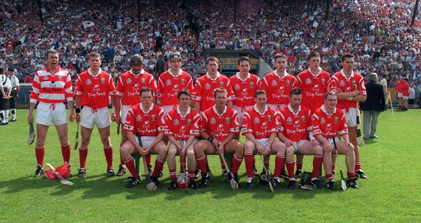 The Cork team prior to the 1998 National Hurling League Final match between Cork and Waterford at Semple Stadium in Thurles. Picture: Ray McManus/SPORTSFILE