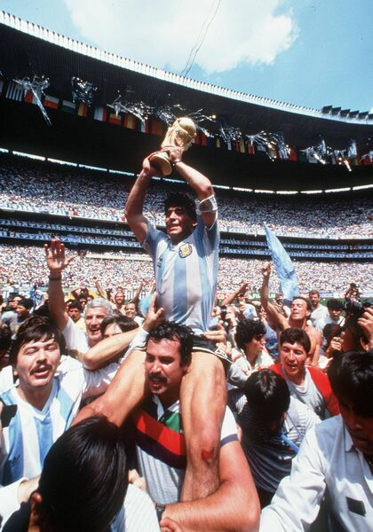 Is that a Mayo supporter carrying Diego Maradona after Argentina's victory over Germany in the 1986 World Cup final? Picture: INPHO/Billy Stickland