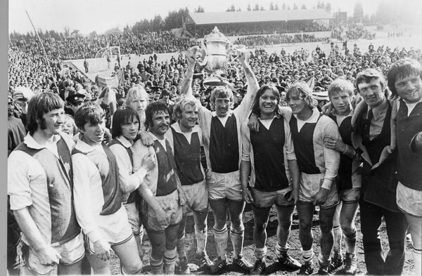 Cork Hibs after winning the FAI Cup in the 1973 replay with Shelbourne at Flower Lodge.