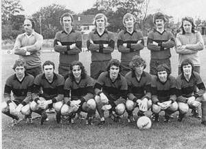 Albert Rovers' first match v Shamrock Rovers was at Flower Lodge on October 3 '76: Back: Alec Ludzik, John Brohan, Barry Notley, Noel O'Mahony (player-manager), Billy Field, Ken McGrath. Front: Pat Horgan, Pat Morley, Paddy Daly, Pat Kirby, James Quinn (c), Brendan Draper, Dom Kenny. Picture: Plunket Carter