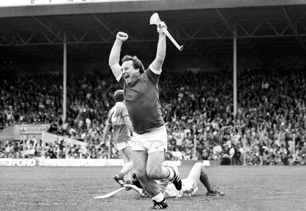 Seánie O'Leary celebrates a goal for Cork against Offaly in the Centenary All-Ireland Hurling final in 1984. The stocky forward was deceptively agile, and one of the most exciting players to watch.