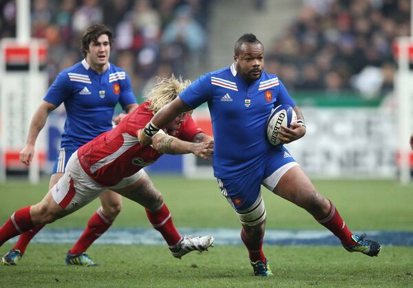 France's Mathieu Bastareaud goes around Wales's Richard Hibbard during  the RBS Six Nations Championship, in the  Stade de France, Paris, back in 2013. The huge centre uniquely mixed speed with mass.	 Picture:NPHO/Billy Stickland