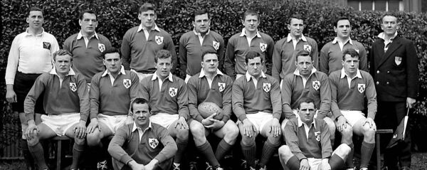 Irish international rugby team. Included are Noel Murphy, back row, fourth from left and Tom Kiernan, at front on right.