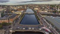 Cork city center in Ireland aerial view