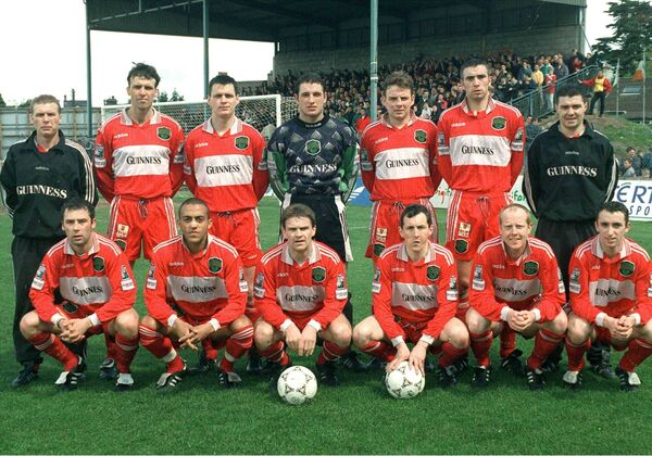 The Cork City side of 1993 contained some great defenders: Back: Patsy Freyne, Johnny Glynn, Stephen Napier, Noel Mooney, Gareth Cronin, Derek Coughlan, Fergus O'Donoghue. Front: Kelvin Flanagan, Jason Kabia, Declan Daly, John Caulfield, Dave Hill, Ollie Cahill