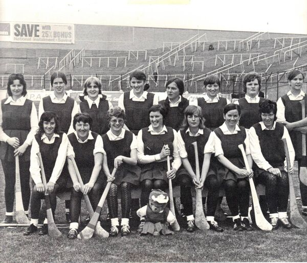 The Cork team which defeated Kilkenny in All-Ireland Senior Camogie final in 1972 and 12 months later completed the four in a row. Back: B Sugrue, P Moloney, L Garvan, A McAuliffe, M Sweeney, M McCarthy, D Sutton, R Hennessy. Front: A Keane, A Comerford, N Guilly, H Dineen, M Whelton, S Dunne, M Costine. Subs not in picture: S Dunne, N Guiley, A Keane.