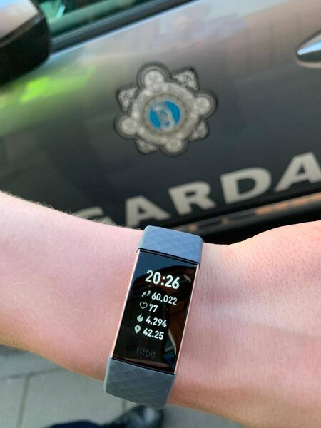 The gardaí, Padraig O'Neill and Emily Maher, were on the beat in the town yesterday and covered 60,022 each during a foot patrol of the area over a 12-hour period.
