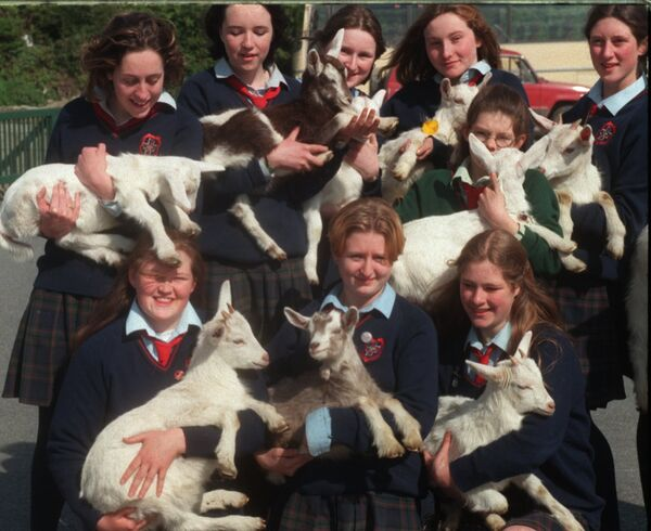 Students from Coláiste na Toirbhirte Secondary School, Bandon with goats they bought to be sent to the third world with monies collected from Lenten activities.