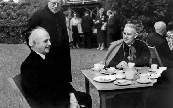 Bishop of Cork Cornelius Lucey at UCC in 1954 pictured with President of UCC, Dr Alfred O'Rahilly (left) and with Canon Thomas Duggan.