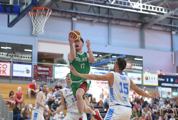 Jordan Blount drives to the hoop for Ireland against Luxembourg. His next port of call could be as a pro in Spain. Picture: Larry Cummins