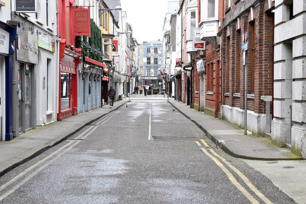 Marlboro street, Cork at 3 pm on Saturday during the Covid -19 virusPicture: Eddie O'Hare