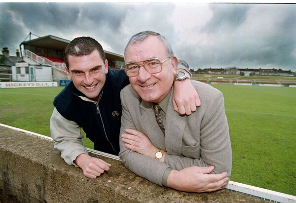 Cork City's Pat Morley with Donal Leahy in 1999.