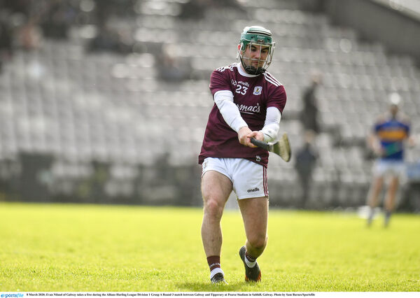Evan Niland of Galway takes a free against Tipperary. Picture: Sam Barnes/Sportsfile