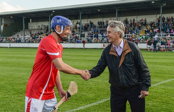 Davy Russell with trainer Jim Bolger before the sixth annual Hurling for Cancer Research game. Picture: Piaras Ó Mídheach/Sportsfile