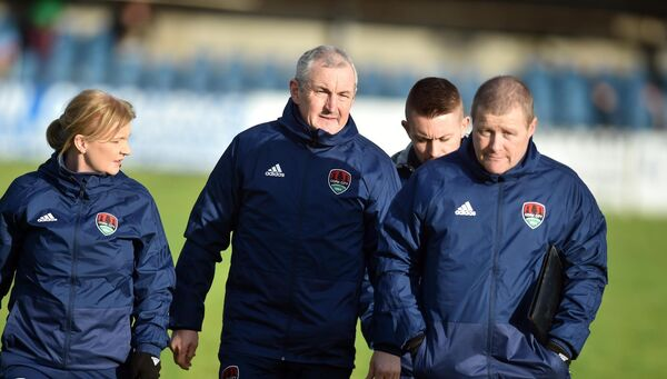 John Caulfield with Lisa Lawlor, John Cotter and Liam Kearney before a Cork City game against Cobh. Picture: Eddie O'Hare