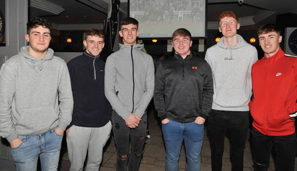 Patrons at Quinlan's Bar, Blackpool: William Crowley, Nathan Sweeney, Kelvin Dunlea, Fionn Brickley, Ciaran Dennehy and Eric Drummond. Picture: Larry Cummins