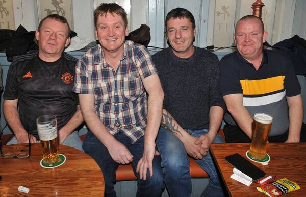 Watching the racing at The Joshua Tree bar, Blarney Street were Gerard Healy, Aidan Harrington, Kevin Connolly and Ross O'Sullivan. Picture: Larry Cummins