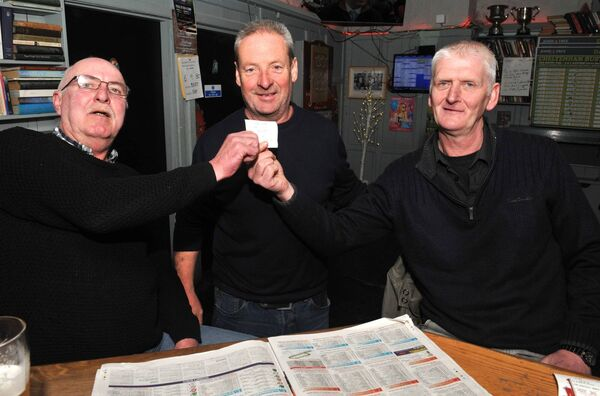 Thomas O'Connor, Martin Dineen and Paul Philpott with a winning docket in the Joshua Tree. Picture: Larry Cummins