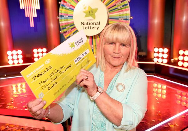 Mary McCarthy from Midleton, Co Cork has won €54,000 including a Car on last Saturday's (7th March 2020) National Lottery Winning Streak Game Show. Her winning ticket was bought from Supervalu shop in Townspark, Midleton, Co. Cork. Pic: Mac Innes Photography