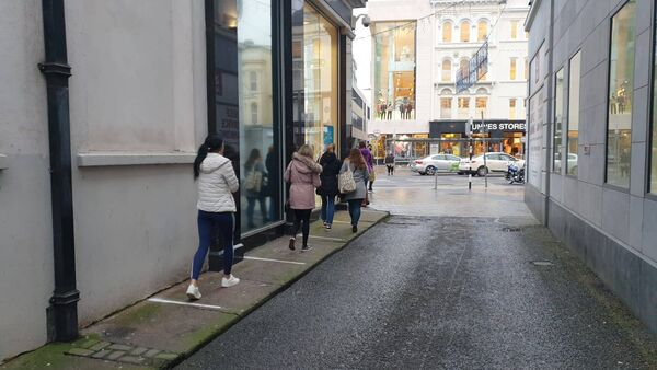 Queues at Penneys this morning. Pic: Roisin Burke