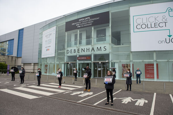 Former staff at Debenhams protest outside the branch at Mahon Point, Cork last week. Picture Dan Linehann