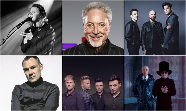 Composite of just some of the artists who were due to play in Cork this summer. Left to right: Lewis Capaldi, Tom Jones, The Script, David Gray, Westlife and Pet Shop Boys.
