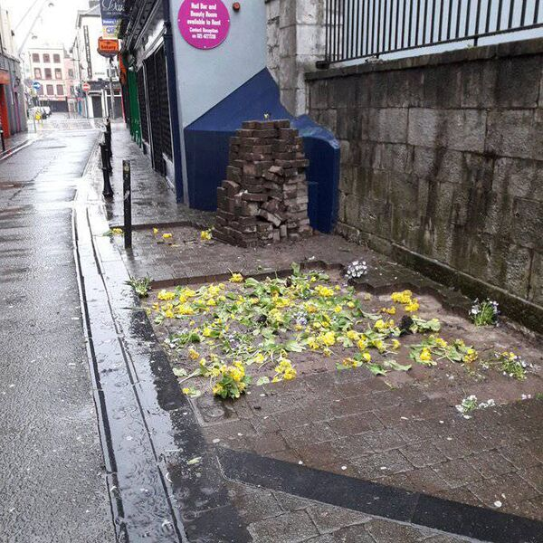 Cork City Council reported criminal damage to the Gardai after paving was dug up over the weekend. Missing bricks in the road between Patrick Street and Paul Street . Picture Cork City Council. Picture Cork City Council.