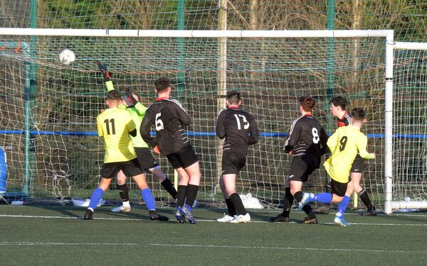 Chris O'Reilly (9) scoring a goal for Douglas Community School. Picture: Denis Minihane.