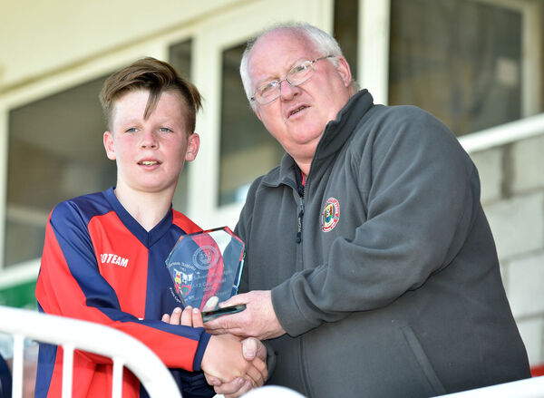 Peter Connolly, CSL chairman, presents the 'Man of the match award' to Lakewood's Darragh O'Connell after the U13 Local Cup final at Turner's Cross in 2016. Picture: Eddie O'Hare