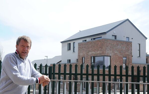Councillor Tony Fitzgerald against the backdrop of part of the City Northwest Quarter Regeneration project phase 2A, Harbour View Road, Cork, which is near to completion.Picture Denis Minihane.