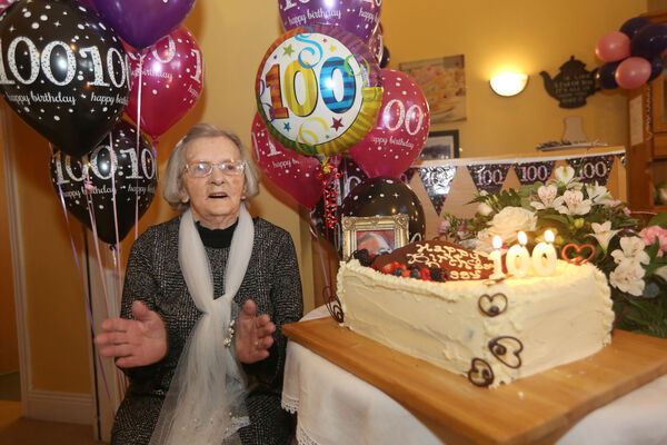 Peg Curtin, (nee Margaret Morrissey), originally from Cork City ) celebrating her 100th birthday at Oaklodge Nursing Home, Cloyne.Picture: John Hennessy