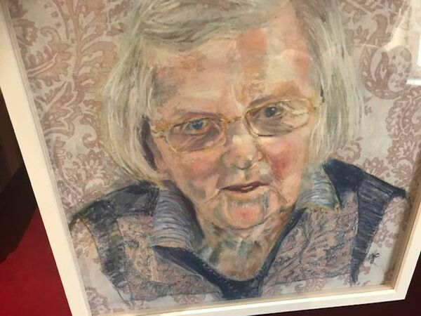 A painting by Gillian Cussen of Peg Curtin, aged 100.