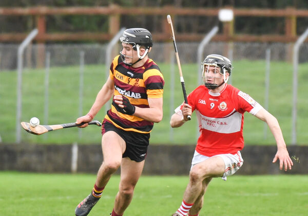 Mark Fitzgerald of De La Salle College tries to get away from Sam Quirke of Midleton CBS, during the Dr Harty Cup quarter-final at the Fraher Field, Dungarvan.Picture: David Keane.EEXXjob Echo Exam Sport08.01.2020