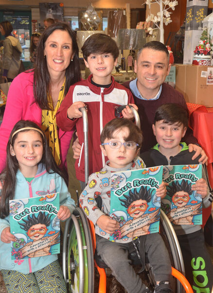 Pictured at the launch of David King's book ''But Really, Adventures with a Difference' in the Read and Write shop in Youghal were Fiona, Robert, David, Katie, Adam and Danny King from Killeagh. Picture: Howard Crowdy