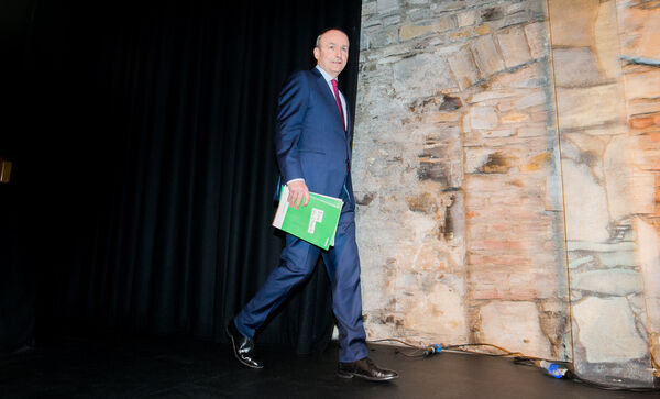 Fianna Fail Leader Micheal Martin during the launch of Fianna Fail's general election manifesto at Smock Alley Theatre,Dublin. Photo:Gareth Chaney/Collins