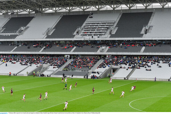 A general view of match action and supporters at Páirc Uí Chaoimh. Picture: Piaras Ó Mídheach/Sportsfile