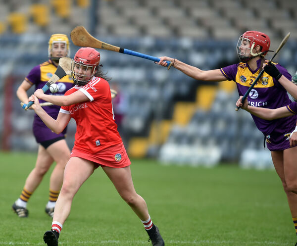 Cork's Fiona Keating shoots from Wexford's Sarah O'Connor. Picture: Eddie O'Hare
