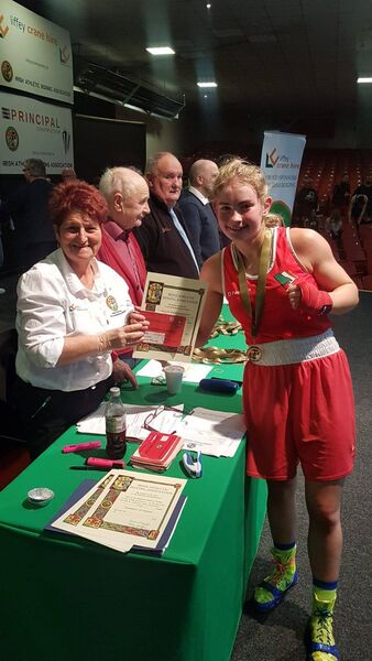 Cork boxer Leanne Murphy in the presentation after her victory.