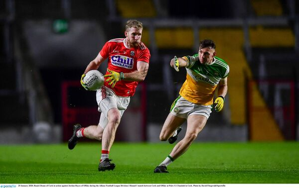 Ruairí Deane of Cork in action against Jordan Hayes of Offaly at Páirc Uí Chaoimh. Picture: David Fitzgerald/Sportsfile