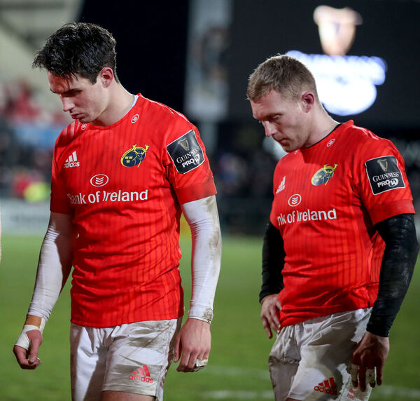 Munster's Joey Carbery and Keith Earls dejected after the gameMandatory Credit ©INPHO/Dan Sheridan