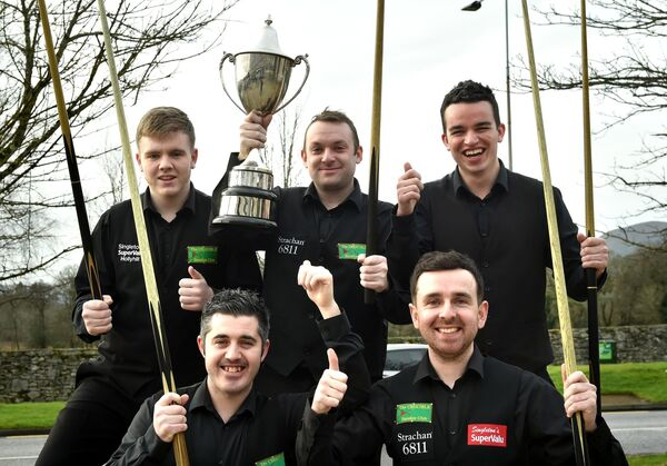 David Cassidy, Captain with team members Ryan Cronin, Greg Casey, Aaron Hill and David O'Regan from the Crucible Snooker Club in Cork after they won the All-Ireland Snooker Team Championship by defeating St. John;s Limerick in the final at The Gleneagle Hotel, Killarney on Sunday.Photo: Don MacMonaglerepro free photo