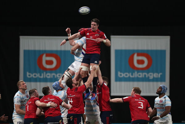 Munster's Billy Holland wins a line out from Racing 92's Bernard Le RouxMandatory Credit ©INPHO/Billy Stickland