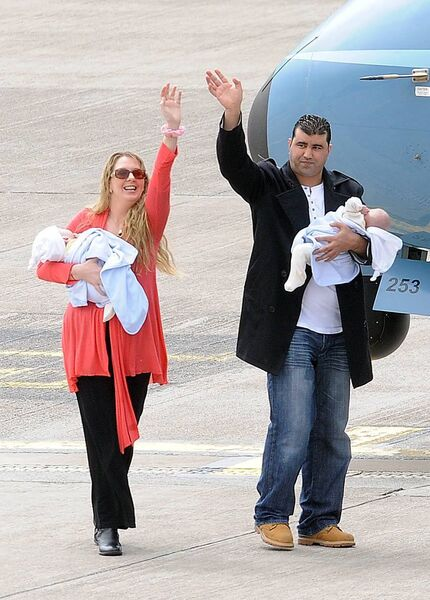 ARRIVING HOME: Angie and Azzedine and twins, after the boys' separation. Picture: Dan Linehan