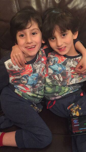 GROWING OLDER: The Benhaffaf twins, Hassan (left) & Hussein pictured as they were told by their mother, Angie, that they'd been invited to appear on The Late Late Toy Show.