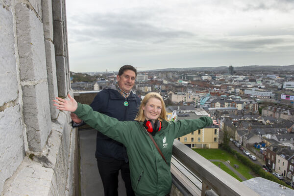 Green Party candidate Cllr. Lorna Bogue with party leader Eamon Ryan TD on the top of Shandon for the launch of the General Election campaign in Cork. Picture Dan Linehan