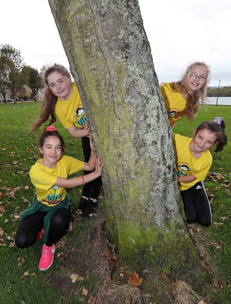 Seana Spokes, Chelsea Ni Angagain, Alicia Ni Mhurchu and Sophie Ni Chrualaoich, pupils from Gaelscoil an Teaghlaigh Naofa and all members of Mini Mermaids Running Club.Picture: Jim Coughlan