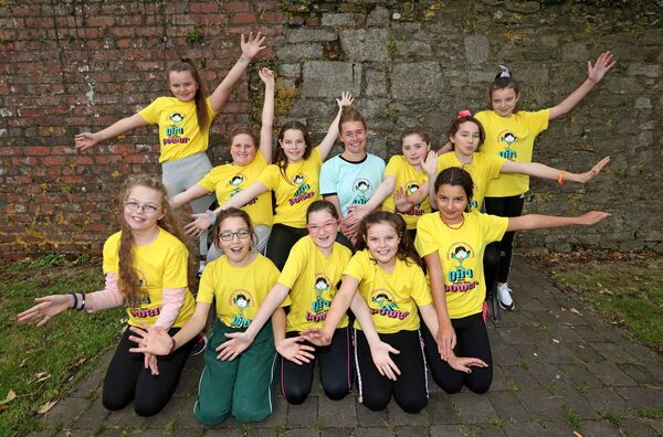 Sarah Fahy with pupils from Gaelscoil an Teaghlaigh Naofa and all members of Mini Mermaids Running Club.Picture: Jim Coughlan