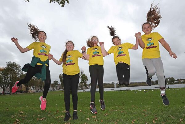 Seana Spokes, Chelsea Ni Angagain, Alicia Ni Mhurchu, Sophie Ni Chrualaoich and Ava Ni Laocha, pupils from Gaelscoil an Teaghlaigh Naofa and all members of Mini Mermaids Running Club.Picture: Jim Coughlan.