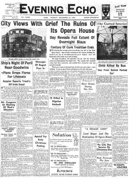 Cork Opera House Echo Front Page 1955 Burning.