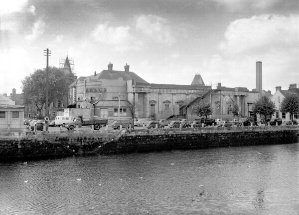 Ruins of Cork Opera House viewed from Camden Quay, 1960.